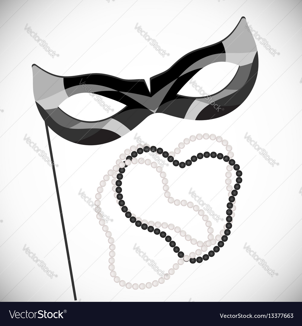 Masquerade mask pearl necklace mardi gras vector image