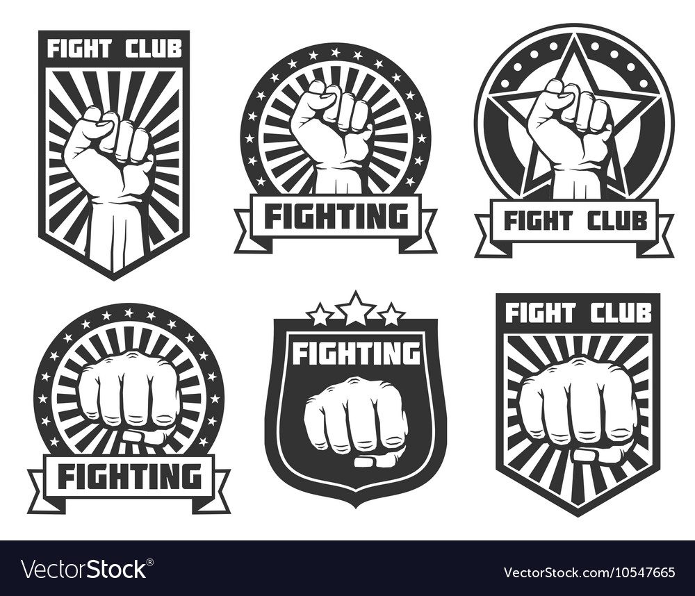 Fight club with fist vintage labels logos vector image