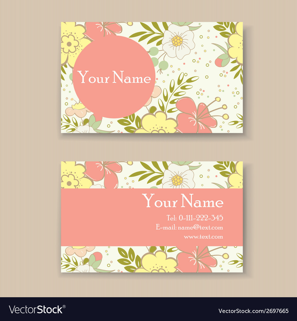 Business card with floral background Royalty Free Vector