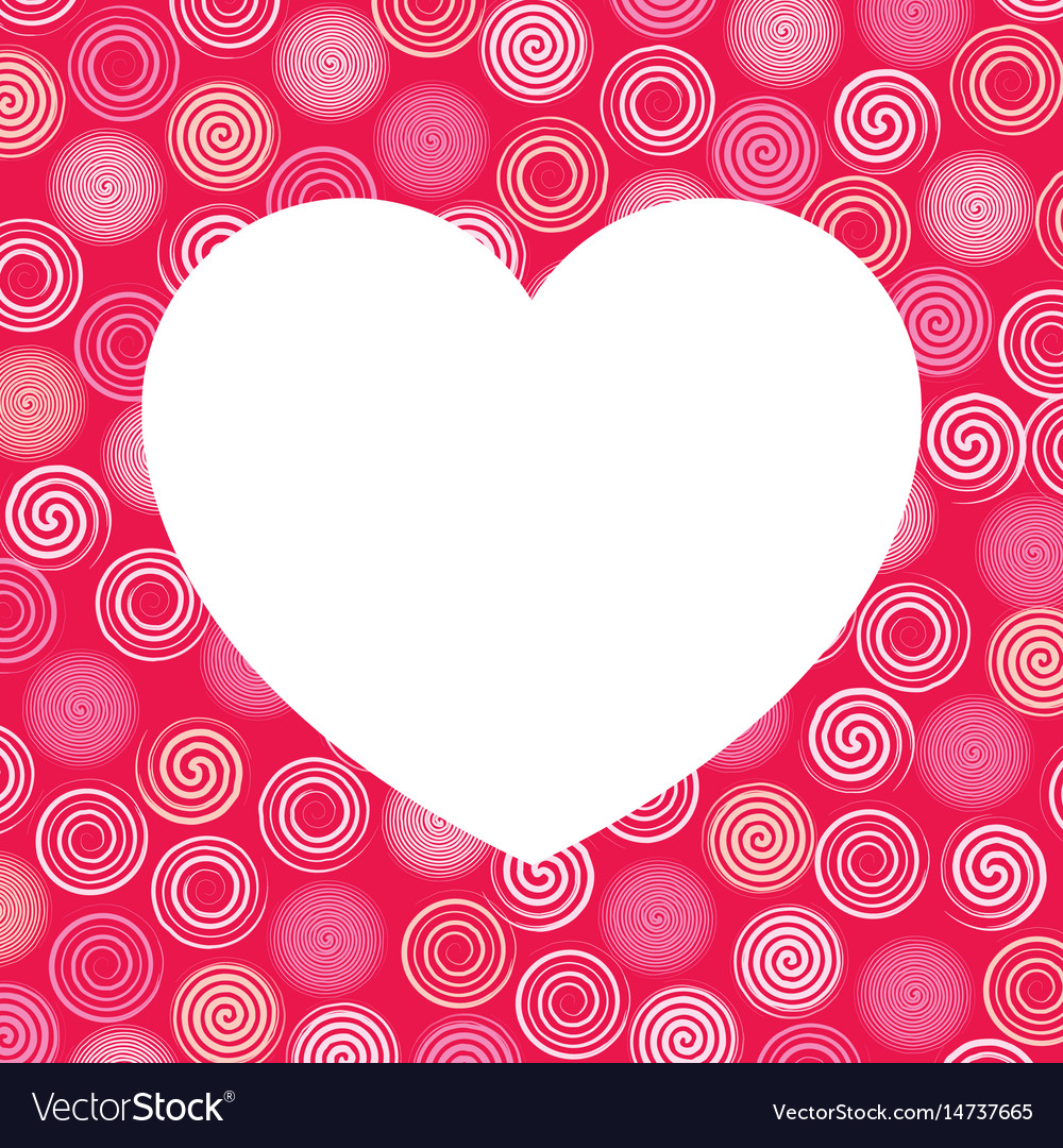 White heart and colorful swirls background vector image