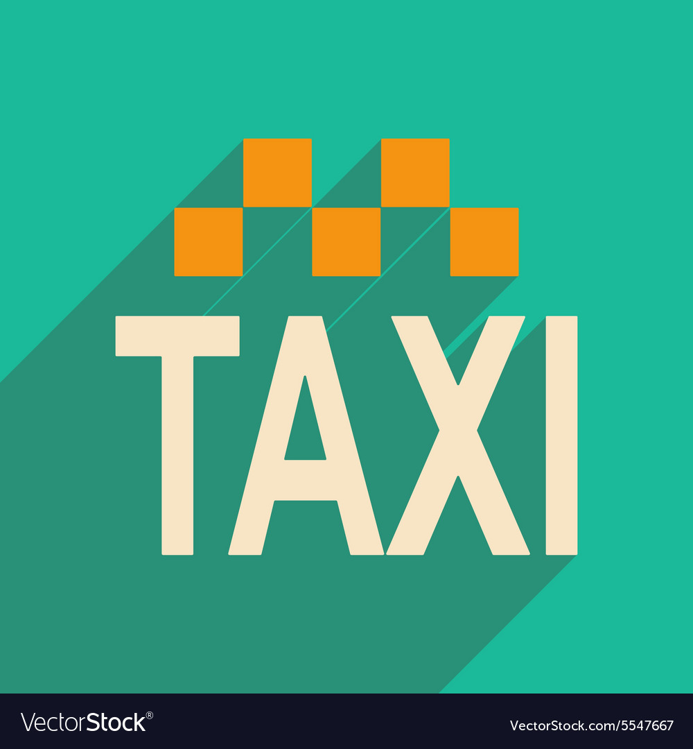 Flat with shadow icon and mobile applacation taxi