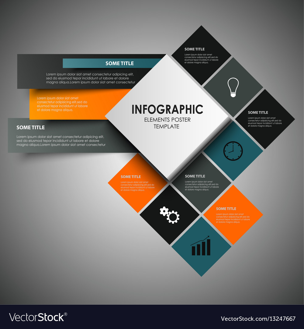 Info graphic with abstract design squares template