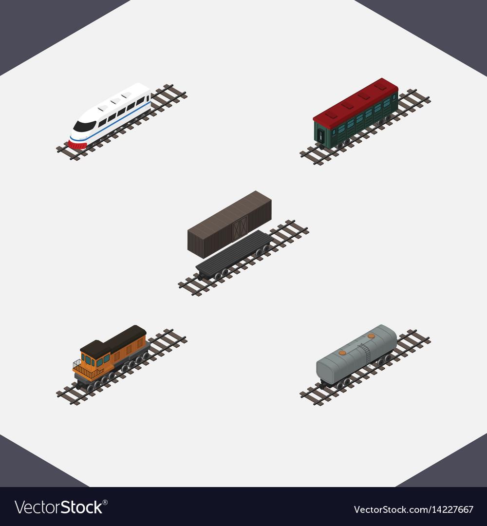 Isometric transport set of subway vehicle train vector image