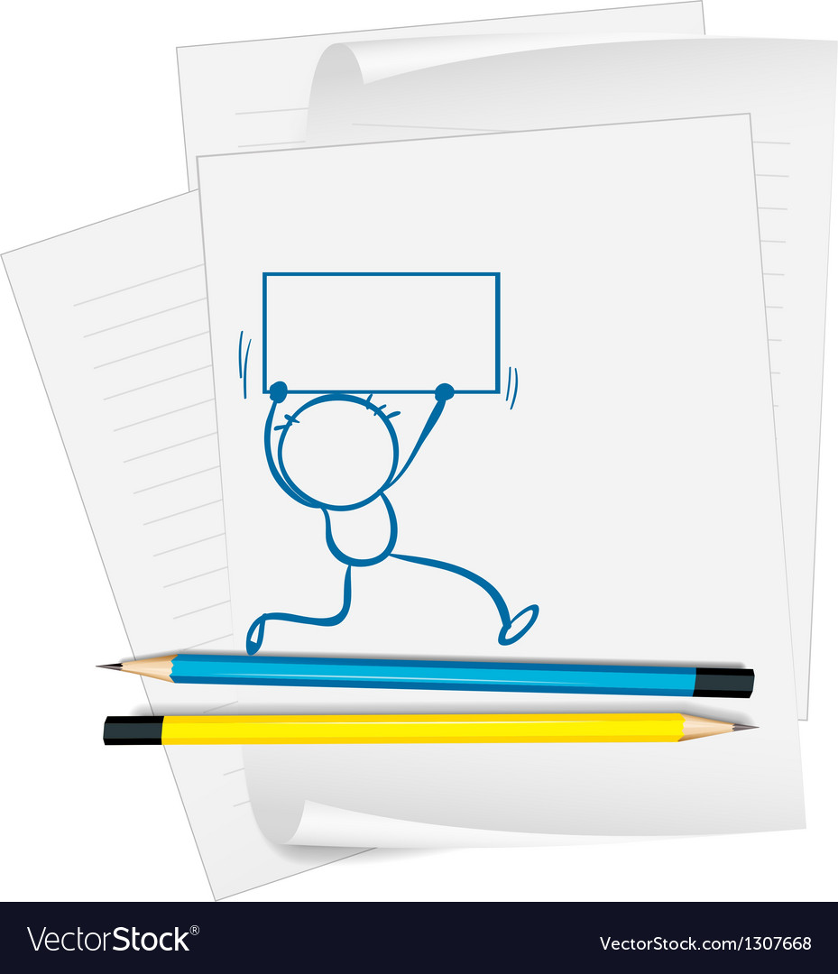 A paper with a drawing of a boy holding a signage vector image