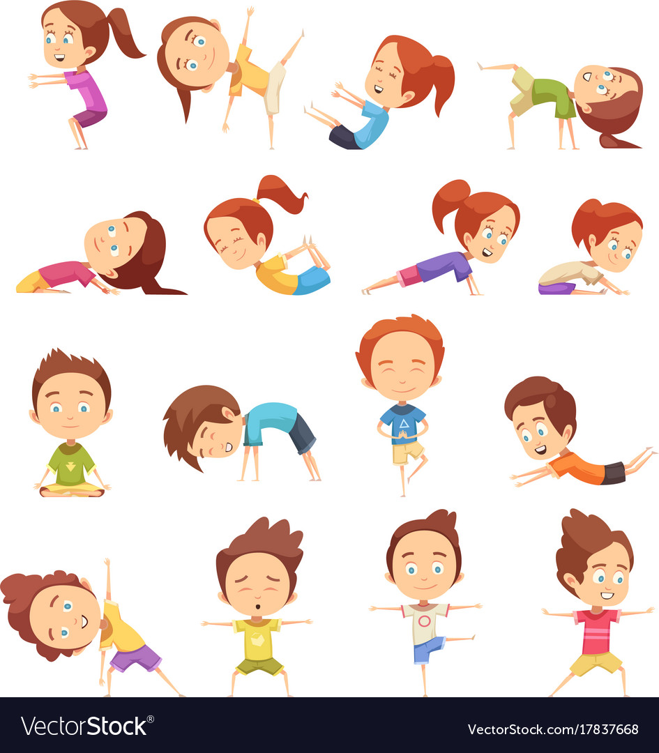 Kids yoga decorative icons set vector image