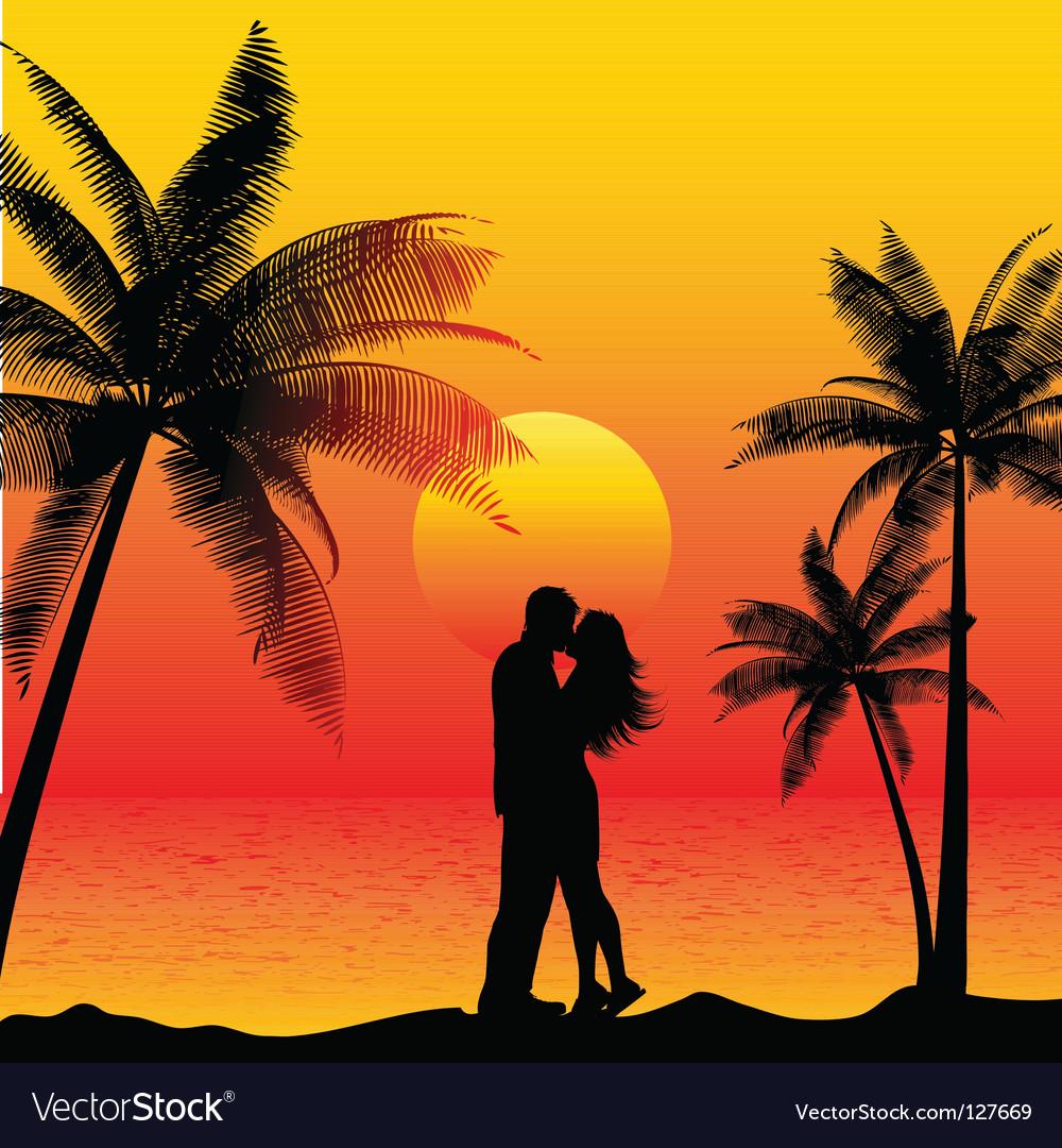 Couple kissing on beach vector image
