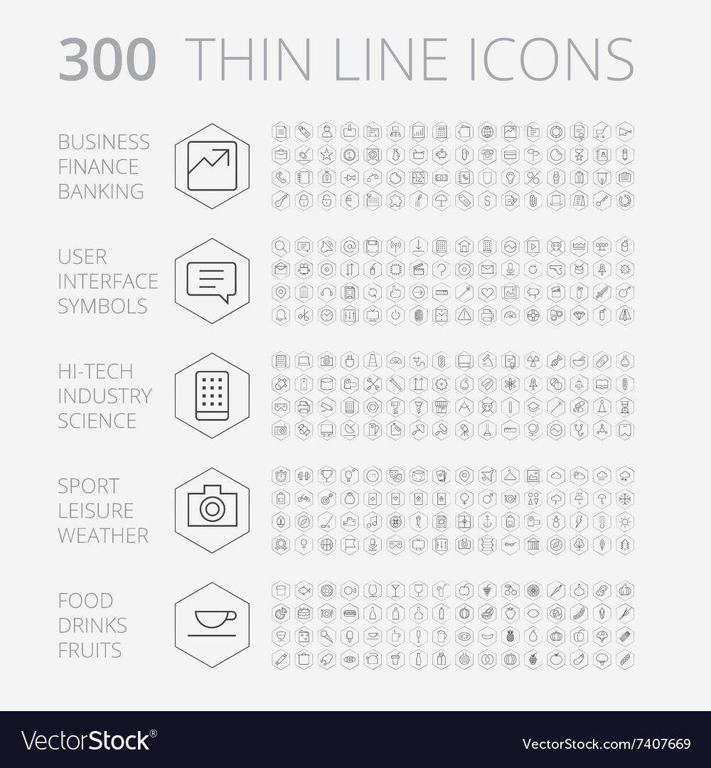 Icons line set hexagon thin vector image