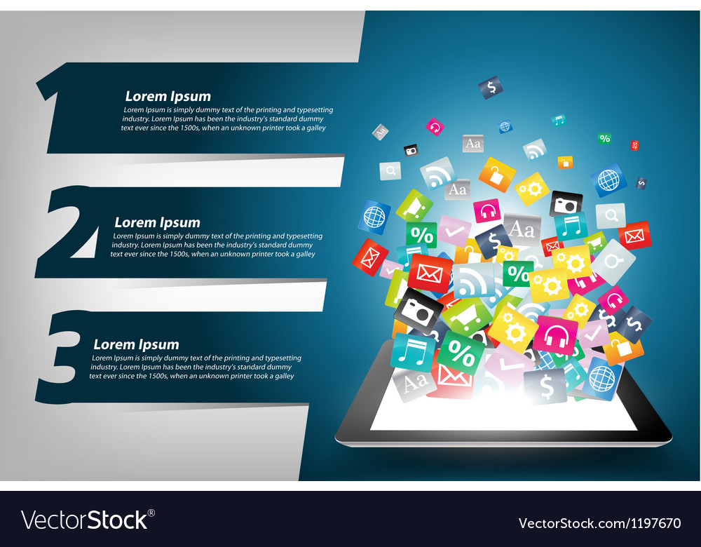 Tablet computer With Colorful application icon vector image