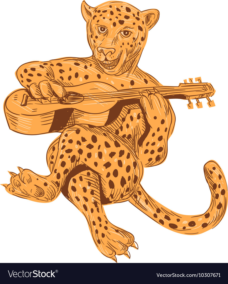 Jaguar Playing Guitar Drawing vector image