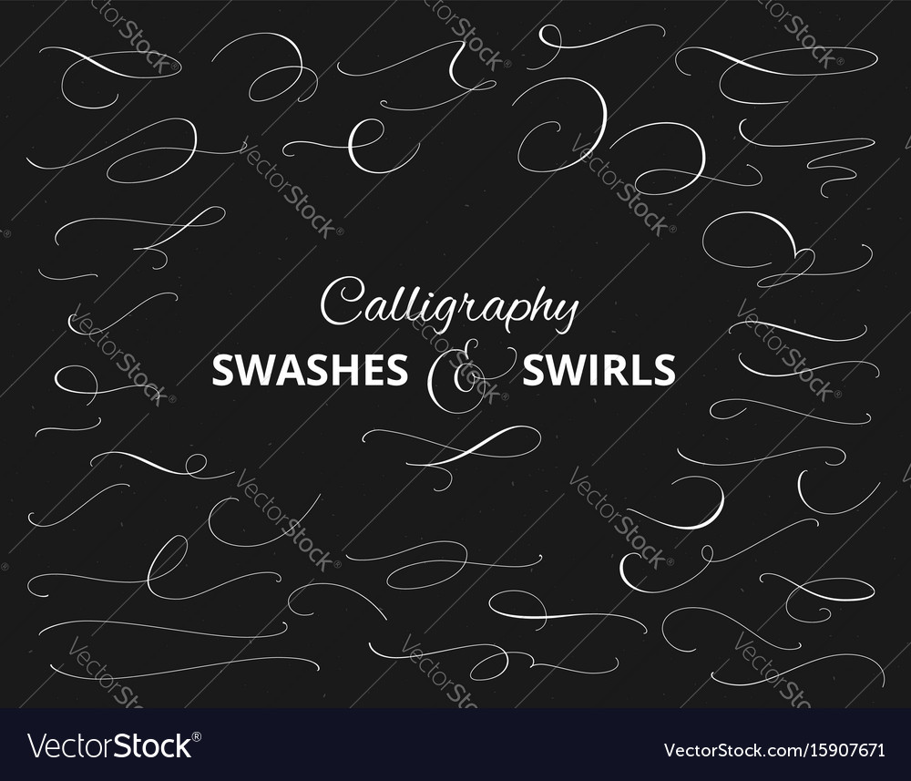 Set of custom decorative swashes and swirls white vector image