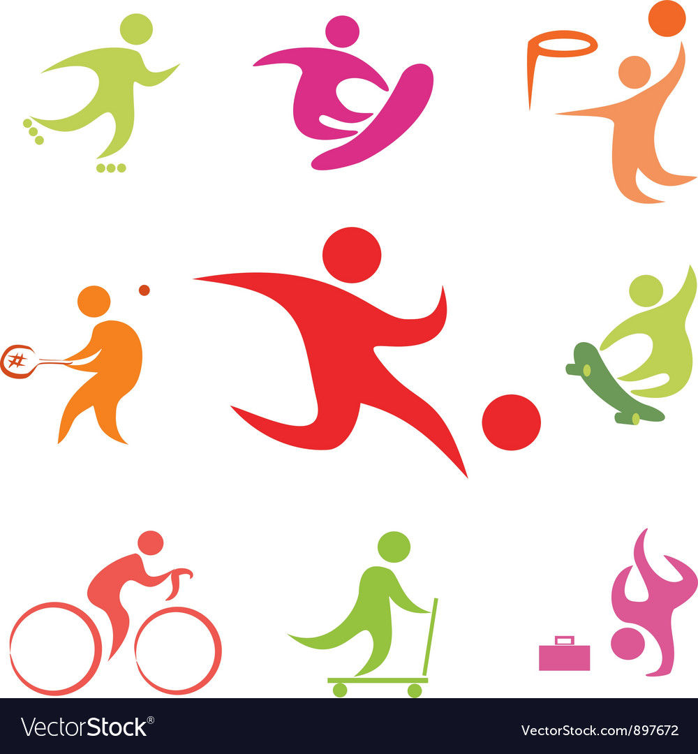 Street sport icons collection vector image