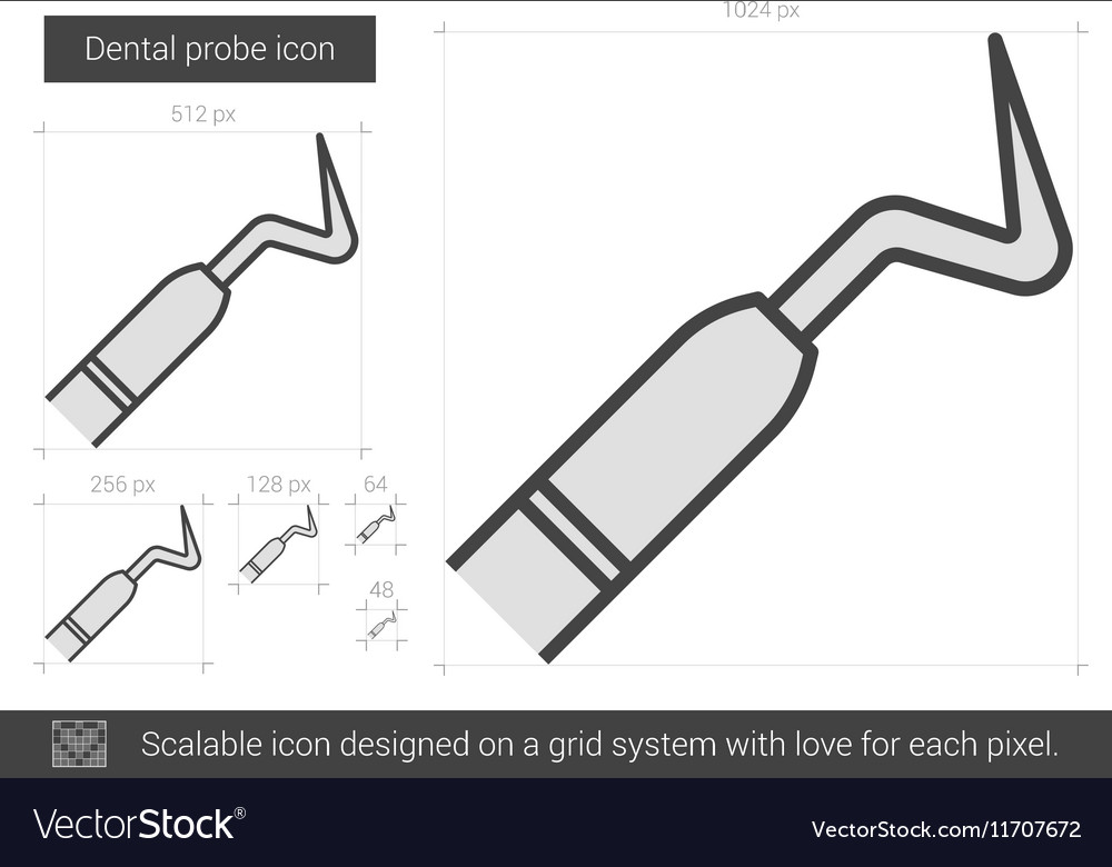 Dental probe line icon vector image