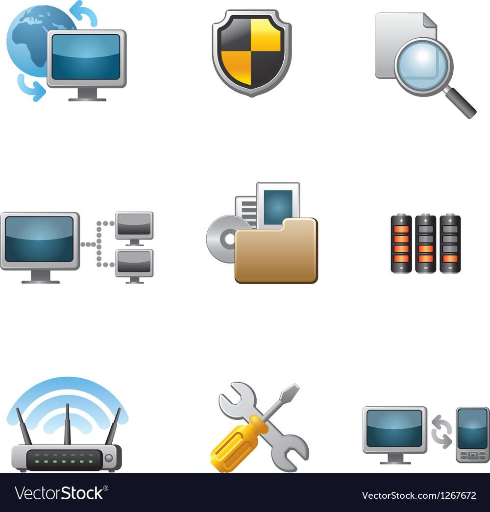 Network icon set vector image