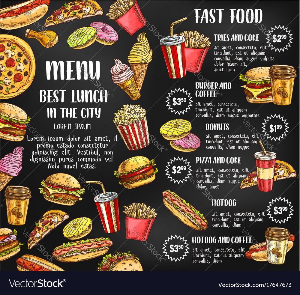 Fast Food Restaurant Menu Sketch Poster Royalty Free Vector