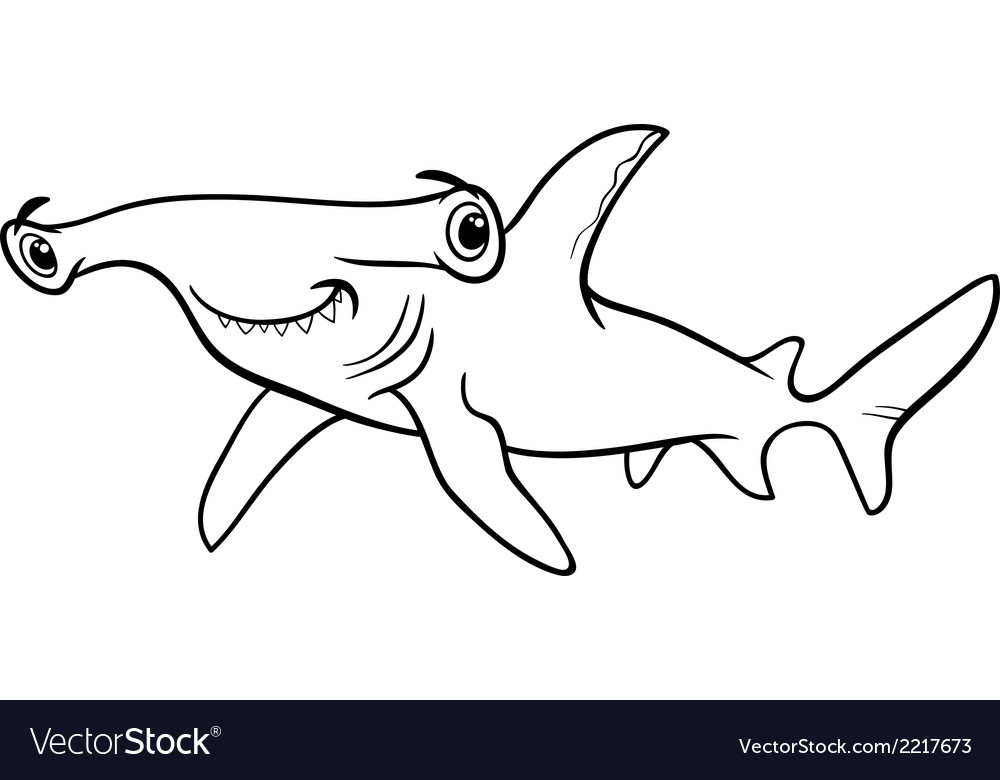 hammerhead shark coloring book vector image - Shark Coloring Book