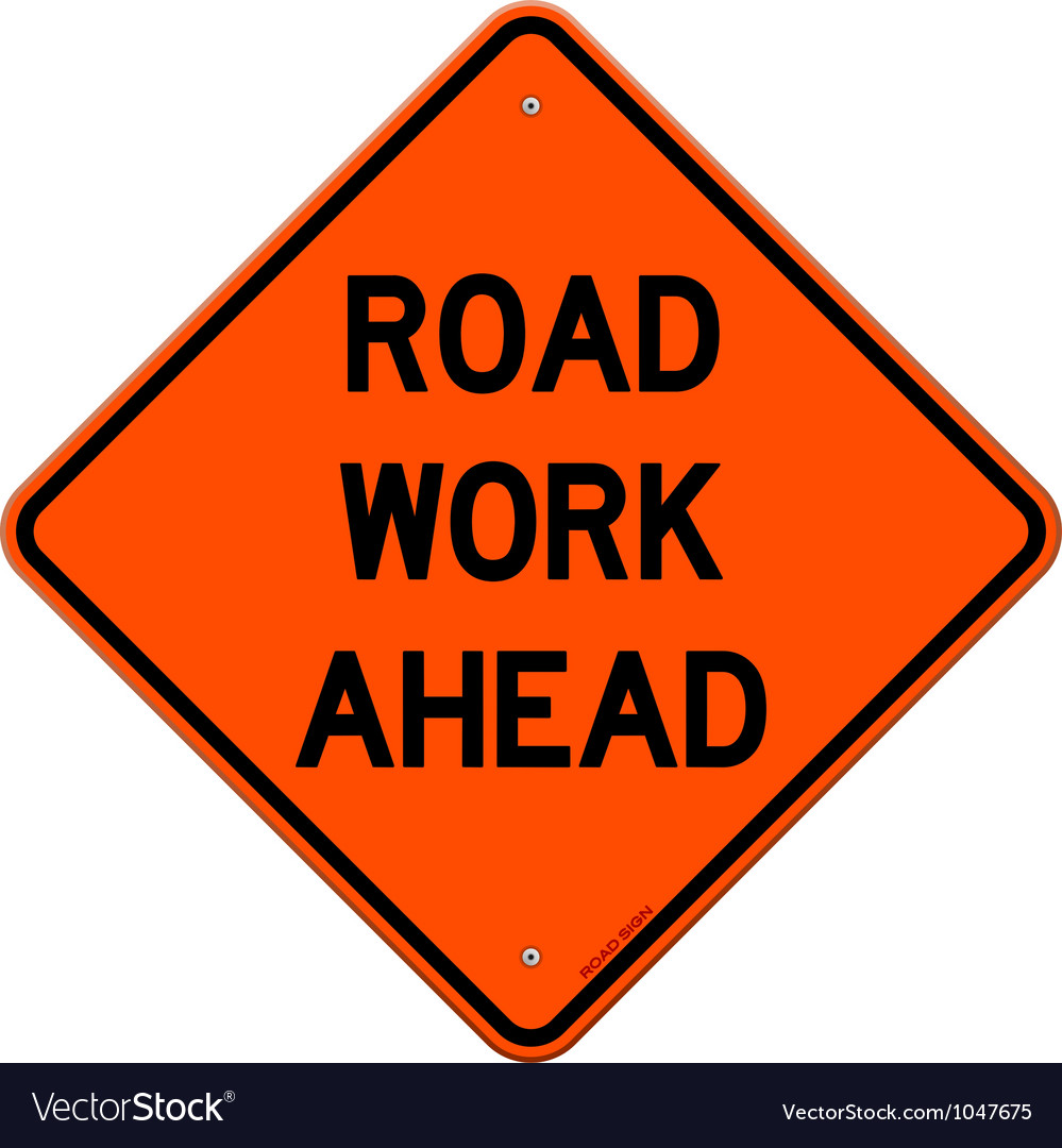 Road Work Ahead Sign Vector Image
