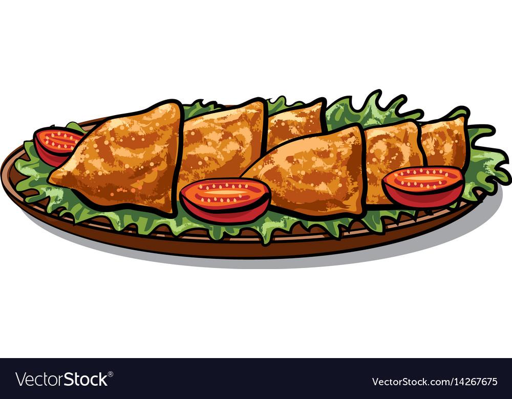 Indian food samosa vector image
