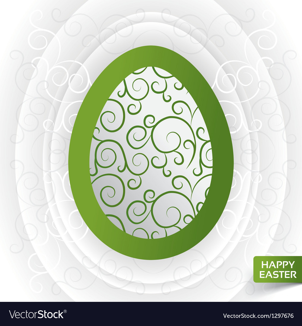Greeting card with abstract green floral egg vector image