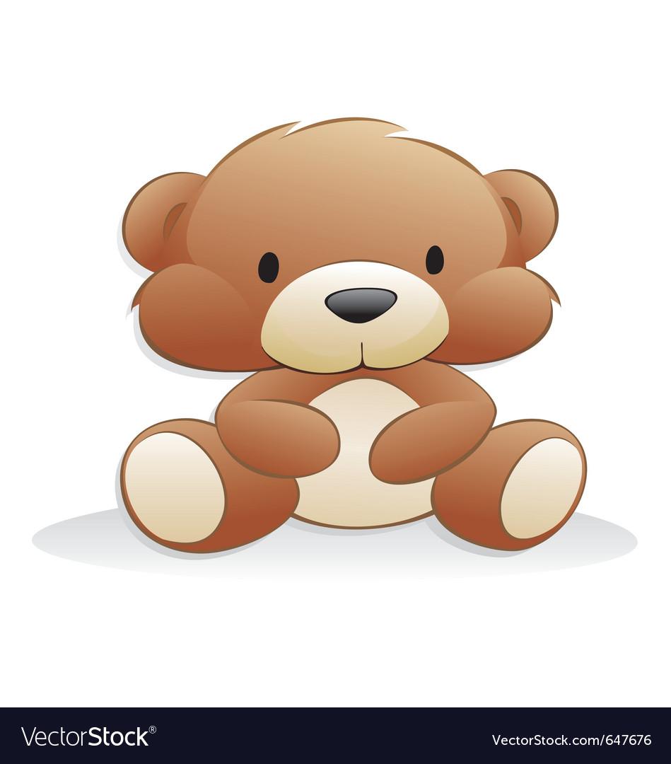 Cute cartoon teddy bear vector image