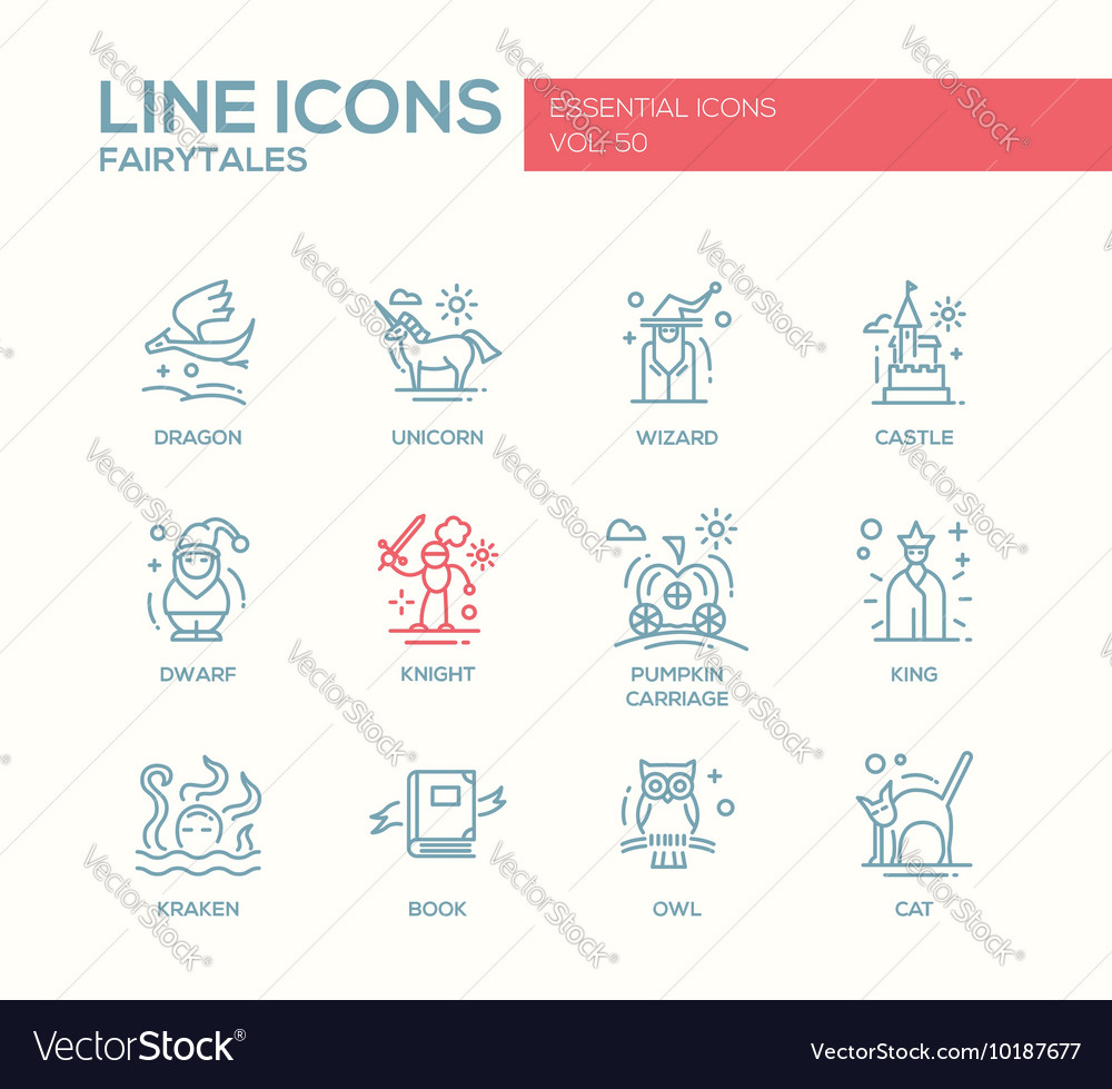 Fairy Tales- flat design line icons set vector image