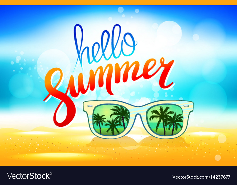 Gentil Hello Summer Poster With Sunglasses Palm Vector Image