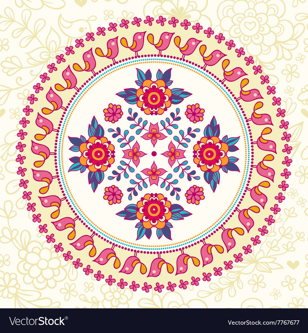 Ornamental round lace Ethnic seamless pattern vector image
