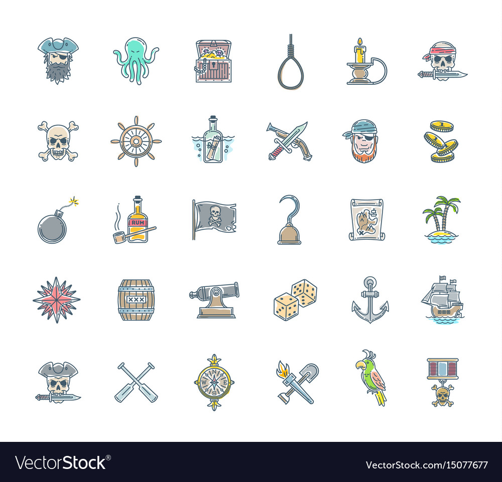Pirate icon set - line drawn objects and character vector image