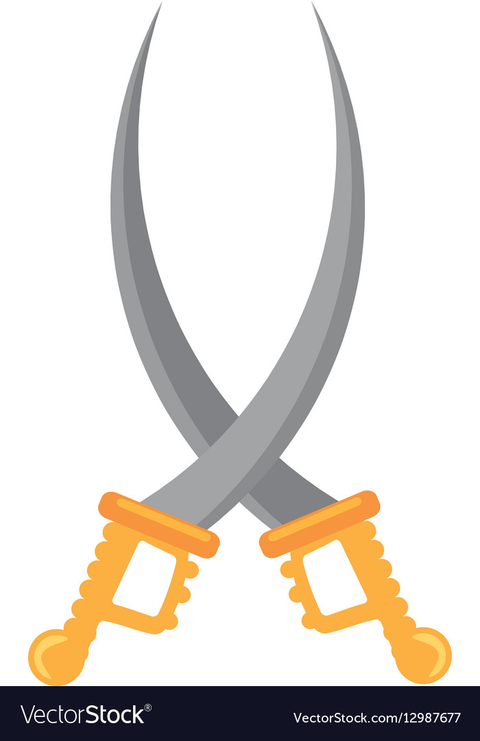 Pirate saber crossed steel cutlass vector image