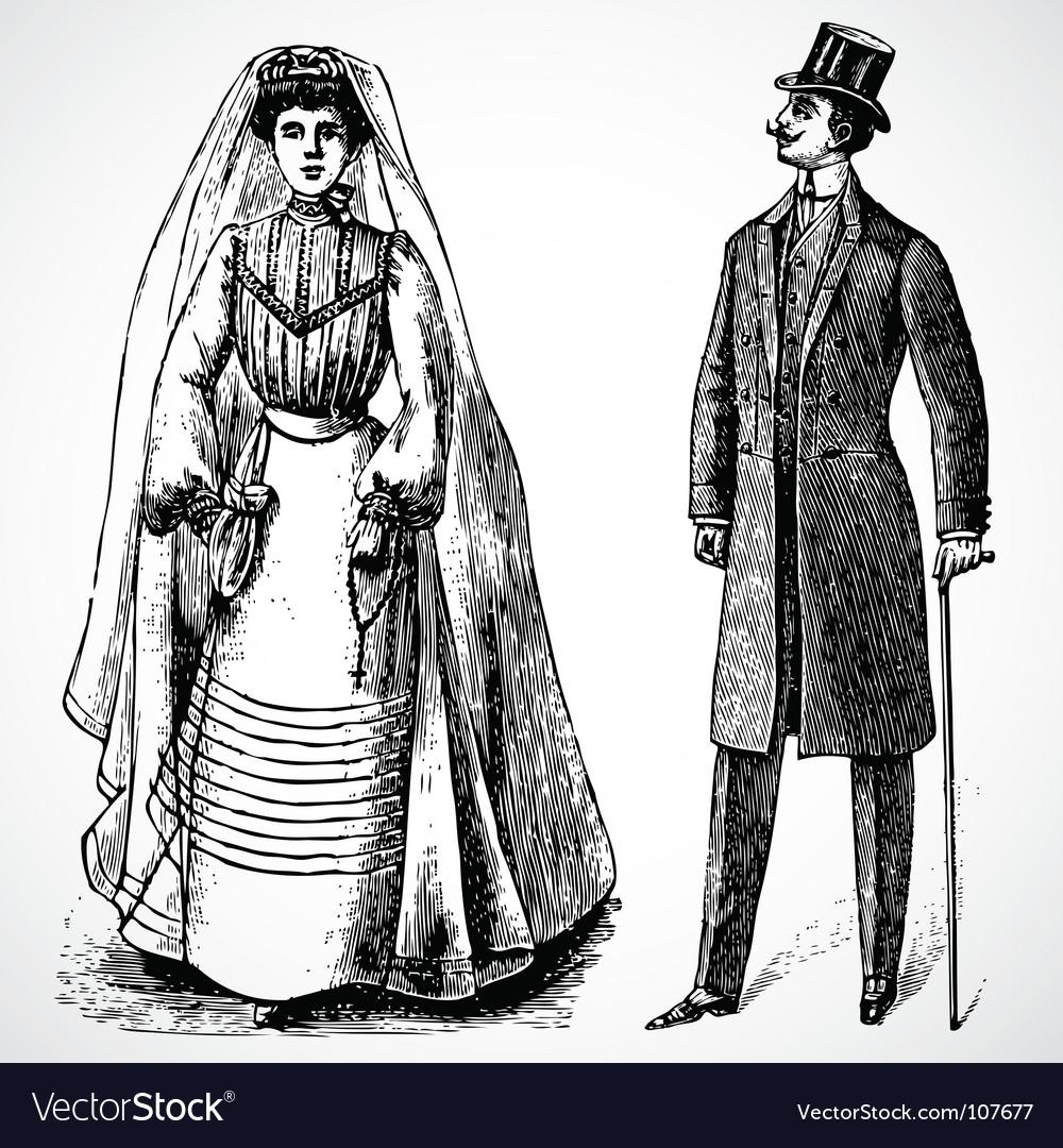 Retro bride and groom vector image