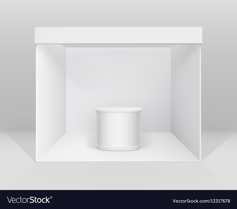 White indoor exhibition booth stand with counter vector image