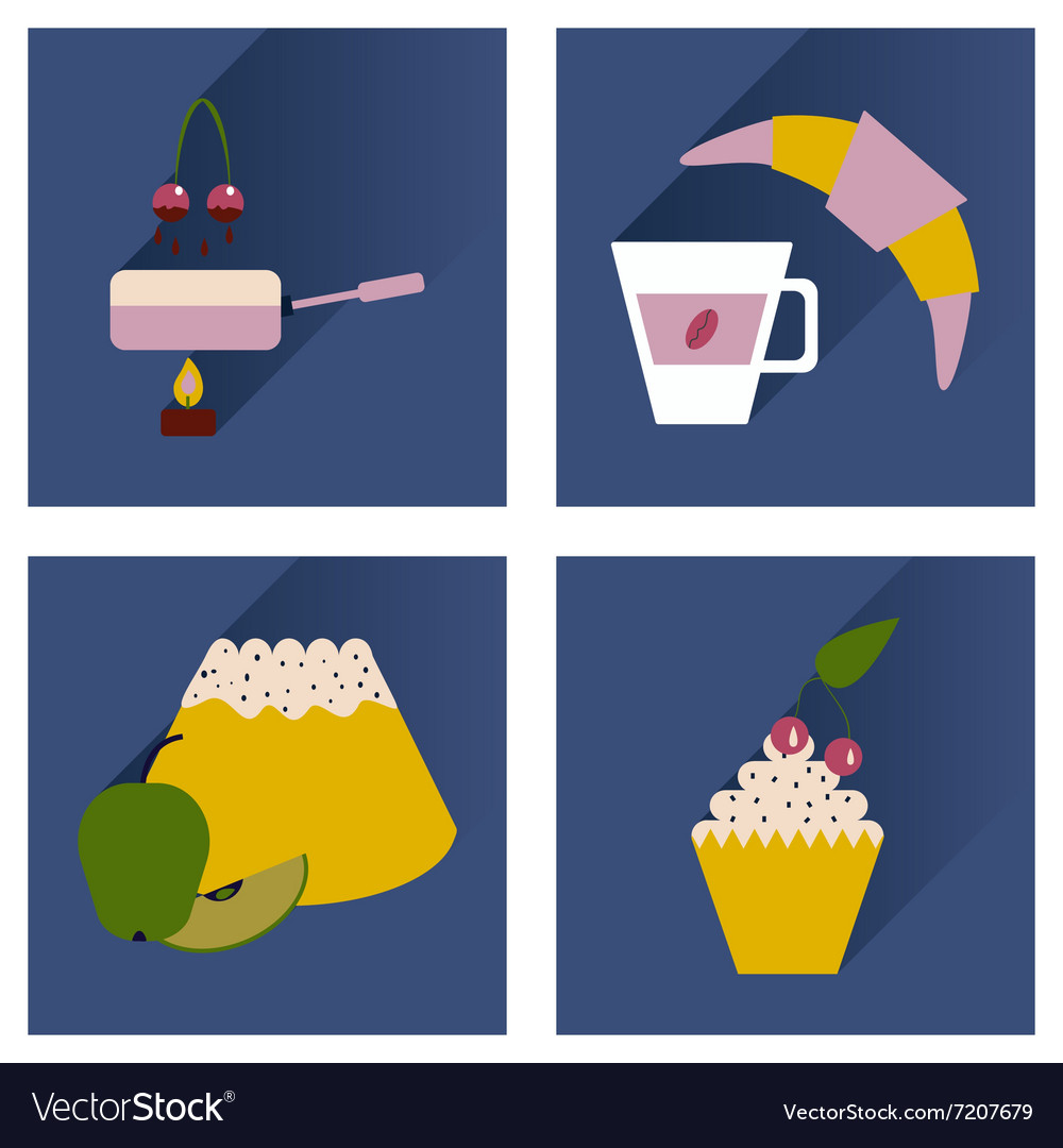 Modern flat icons collection shadow Dessert