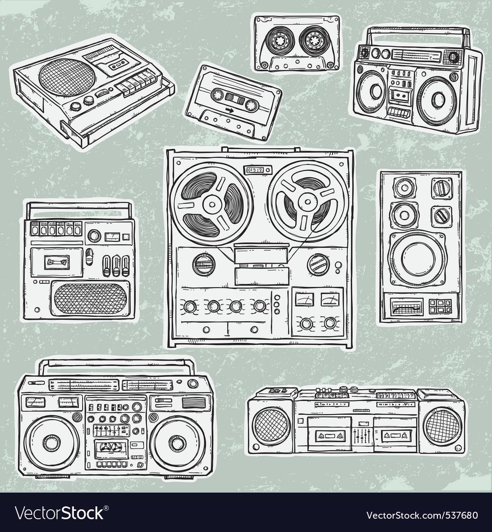 Retro musical equipment vector image