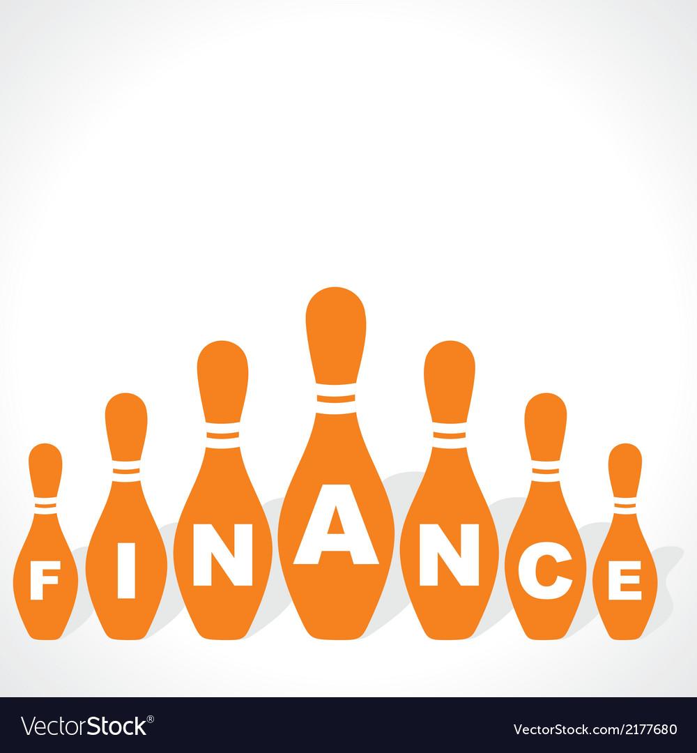 Bowling pins make finance word vector image