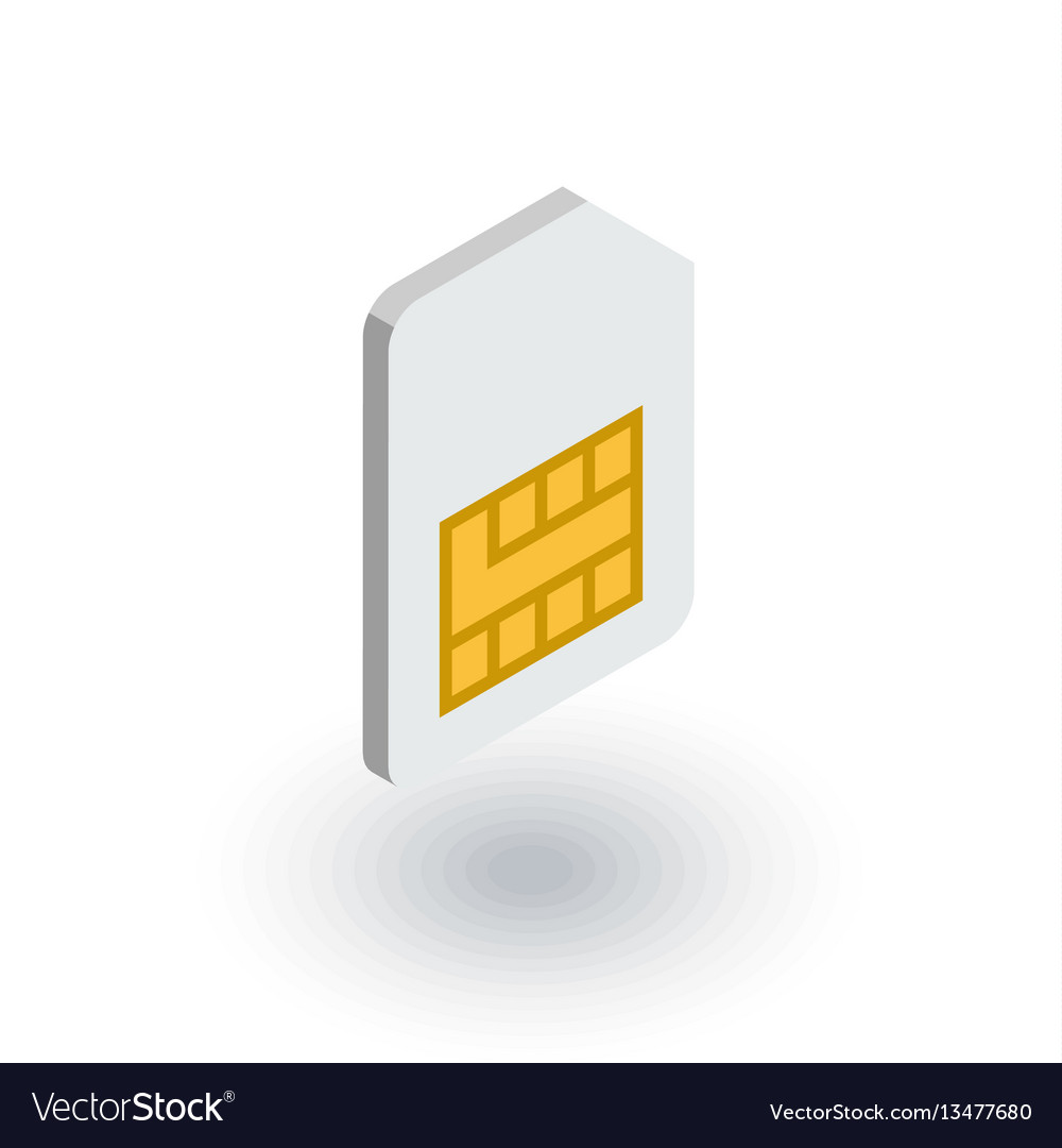 Sim card isometric flat icon 3d vector image