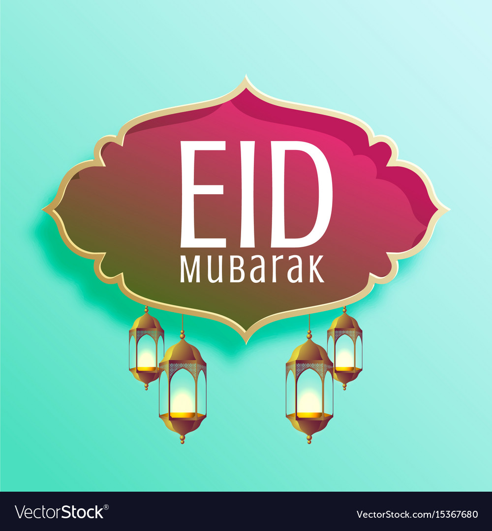 Stylish eid mubarak seasonal background with vector image