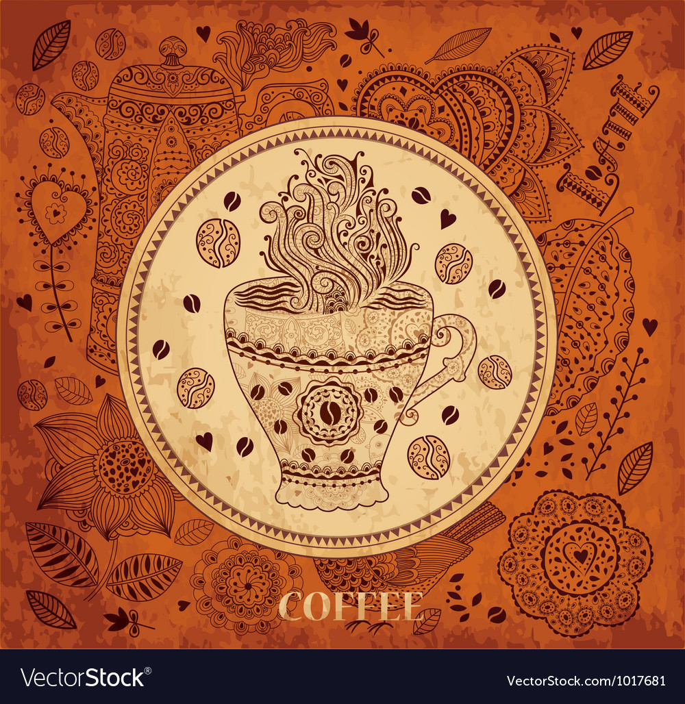 Decorative Coffee Background Vector Image