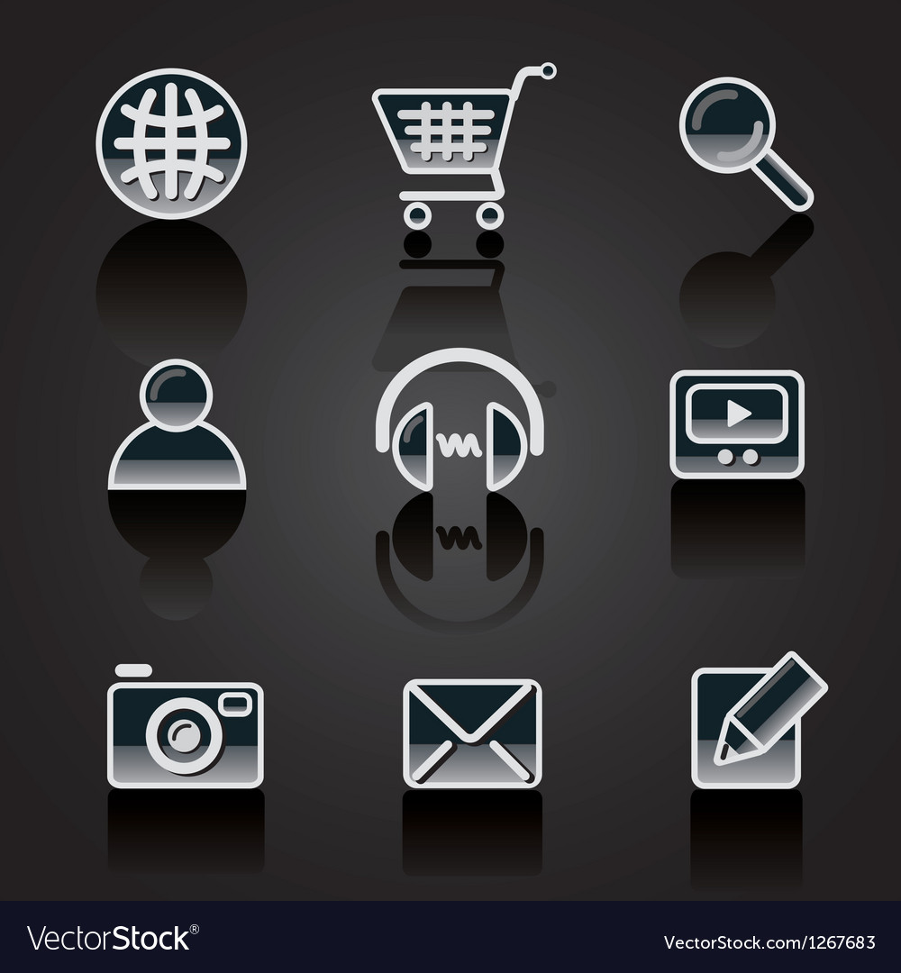 Web icons glossy Vector Image