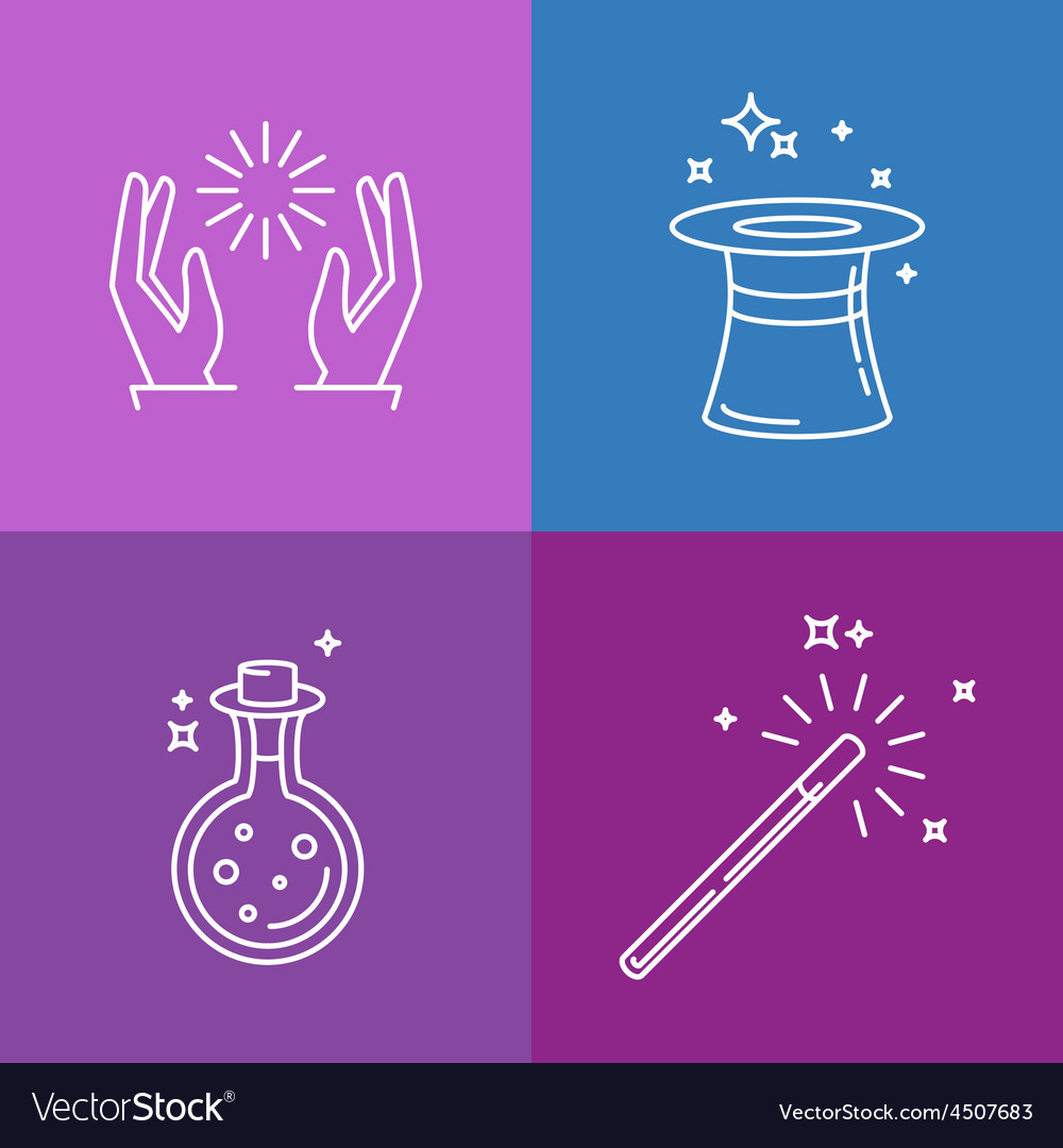 Magic related linear icons and signs vector image