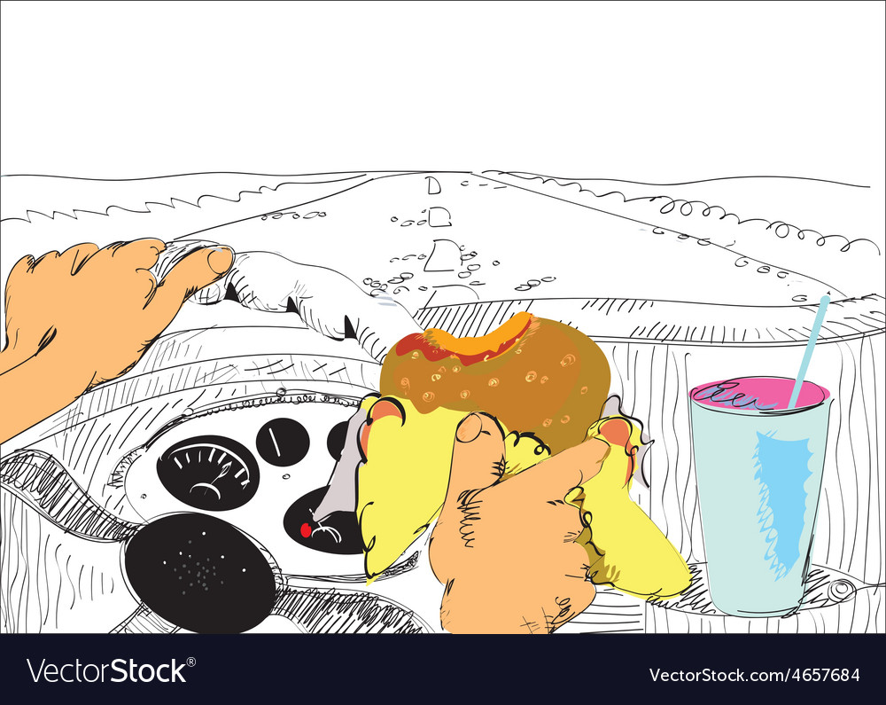 Driver Eating vector image