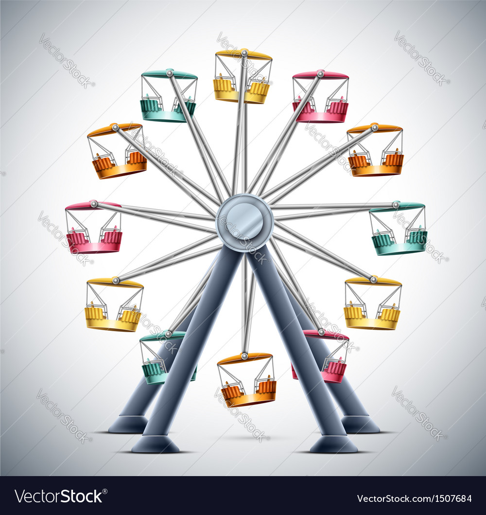 Isolated ferris wheel vector image