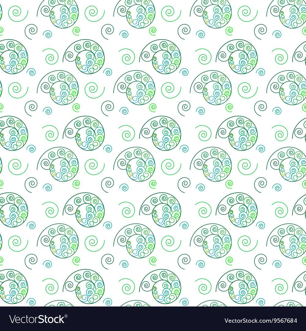 Spiral green seamless pattern vector image