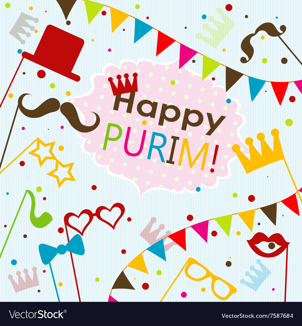 Template jewish holiday purim greeting card vector image kristyandbryce Images