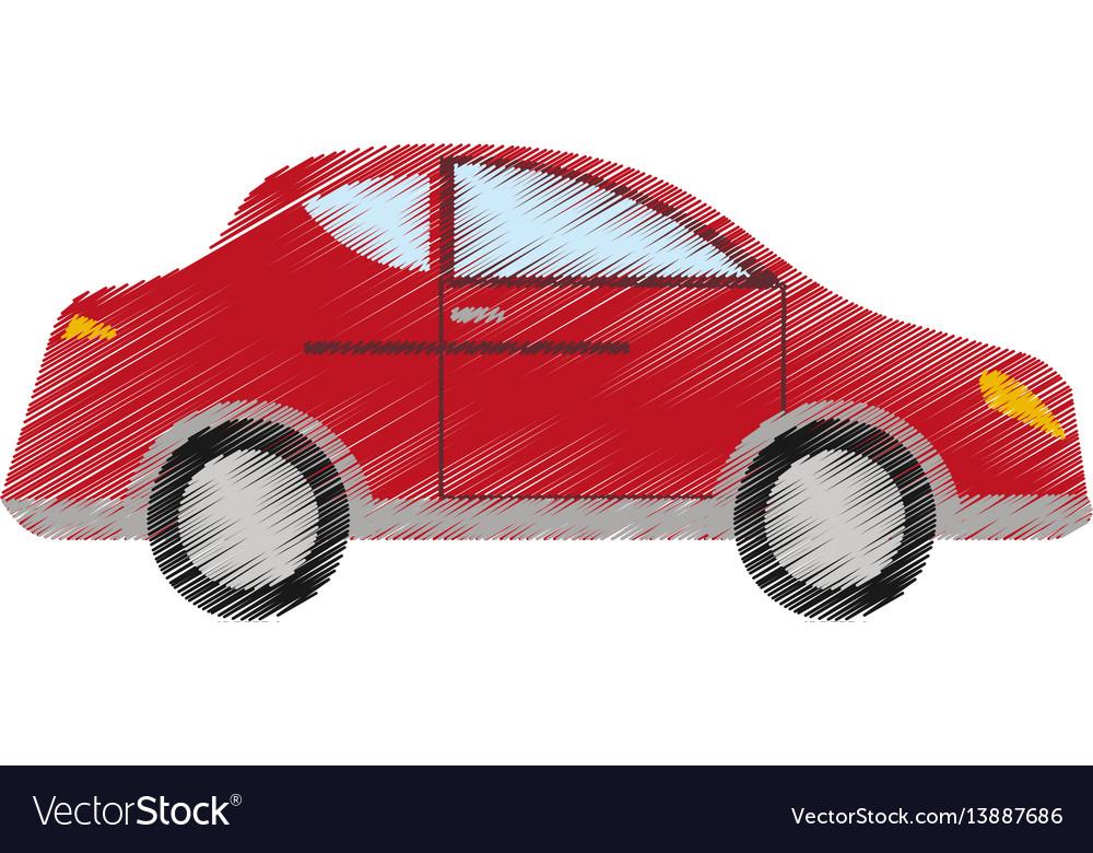 Drawing red car sedan vehicle transport vector image