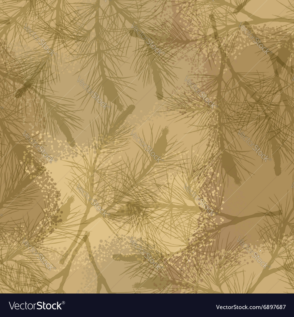 Pine branch seamless pattern camouflage sand vector image