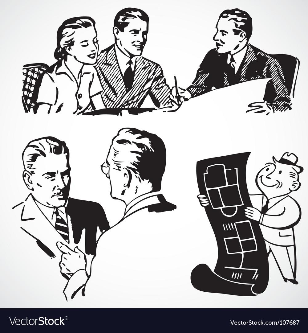 Retro business vector image