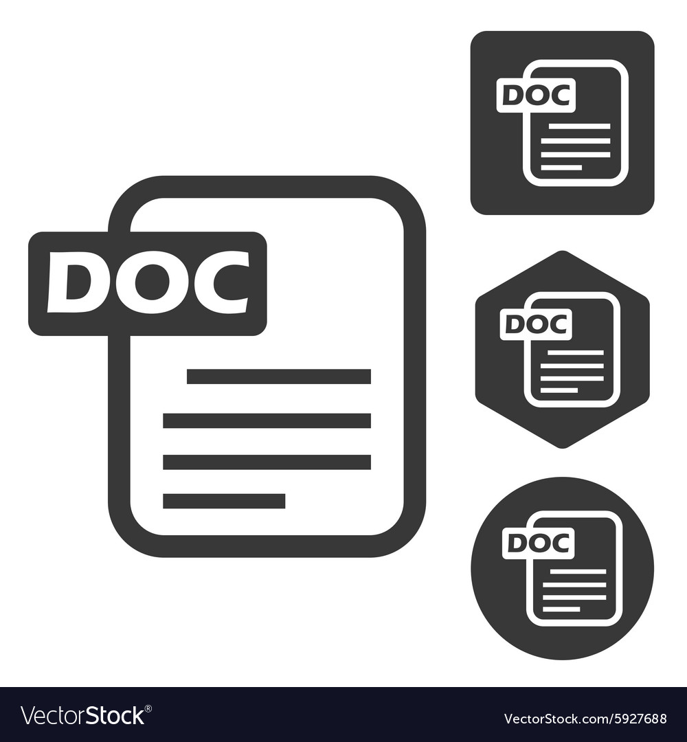 DOC document icon set monochrome vector image
