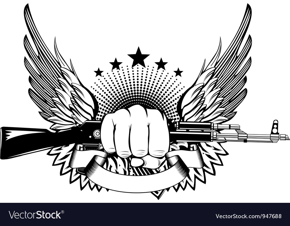 Fist wings and akm vector image