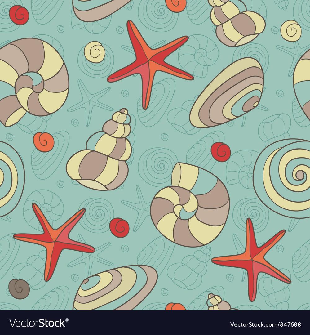 Shells and starfish vector image