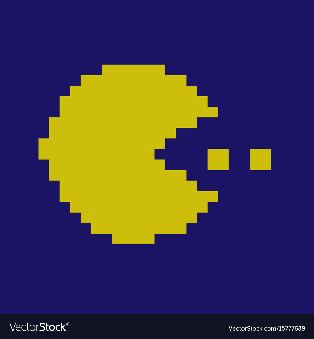 Pixel smile icons pac man character vector image