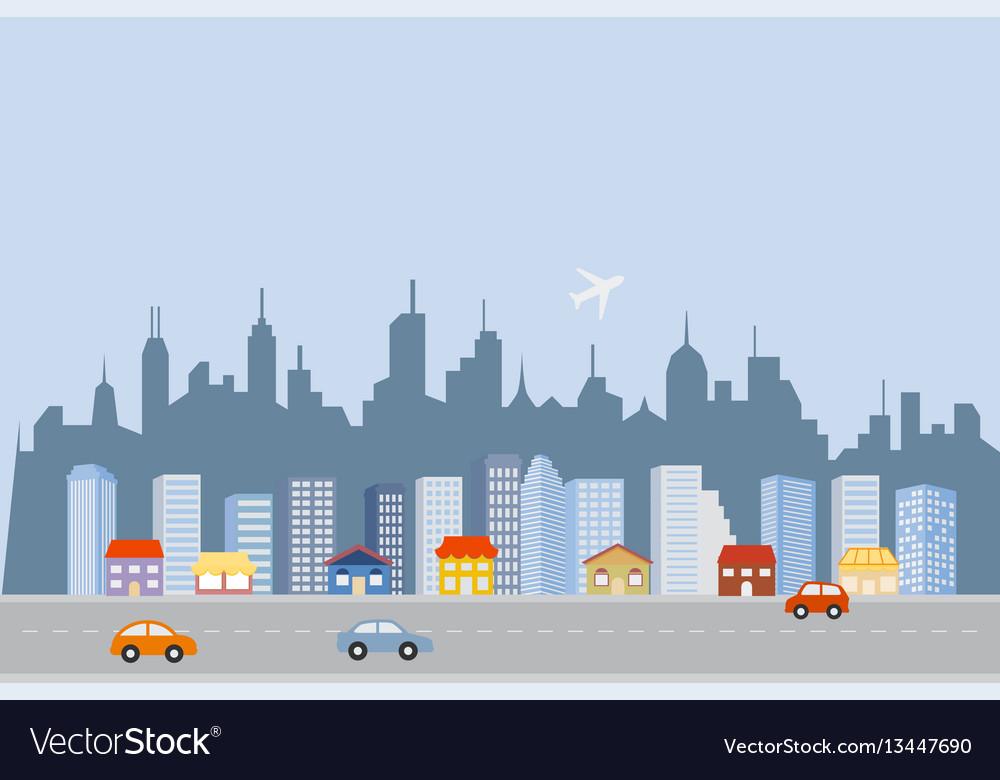 Downtown big city skyline vector image